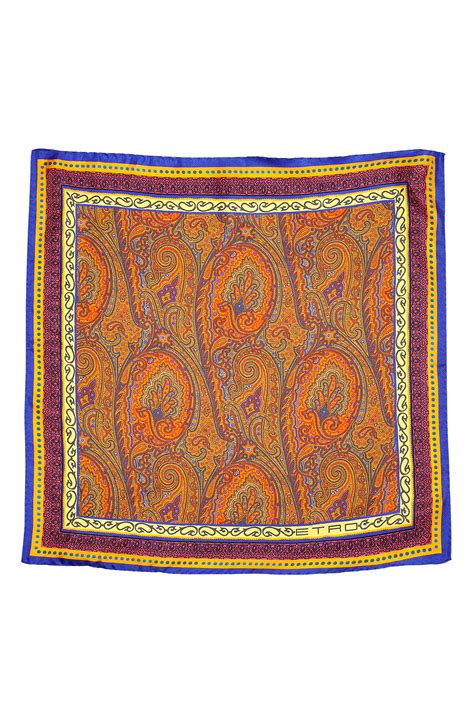 brown pattern pocket square etro royal and rust paisley pattern silk pocket square in