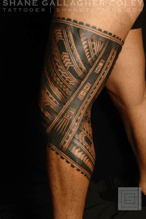 thigh tribal tattoo designs shane tattoos polynesian leg tatau ideas