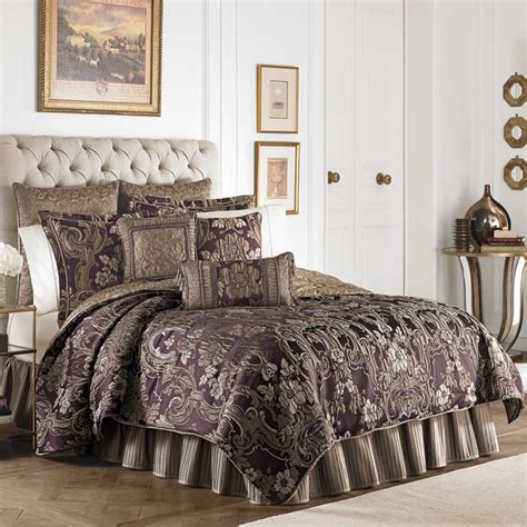 Damask Duvet Cover King Croscill Everly Plum And Gold 4 Piece Comforter Set Free