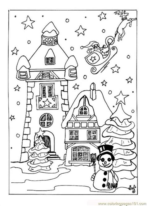 coloring pages christmas village source qfx architecture