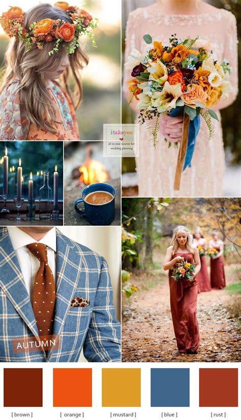 brown blue mustard orange and rust autumn colours wedding theme ideas i take you wedding