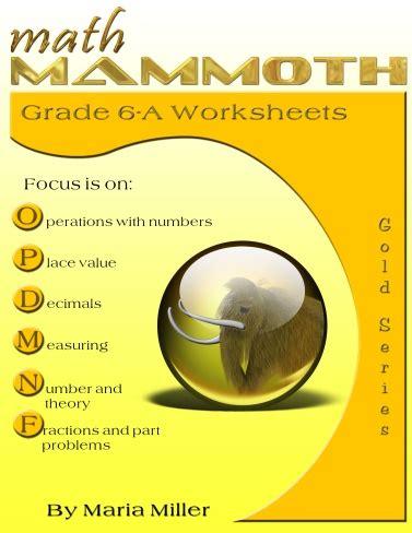 math mammoth grade  worksheets