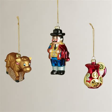 glass spain boxed ornaments set of 3 world market