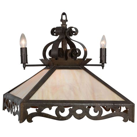 Slag Glass Chandelier Combination Rustic Gas And Electric Slag Glass Chandelier For Sale At 1stdibs