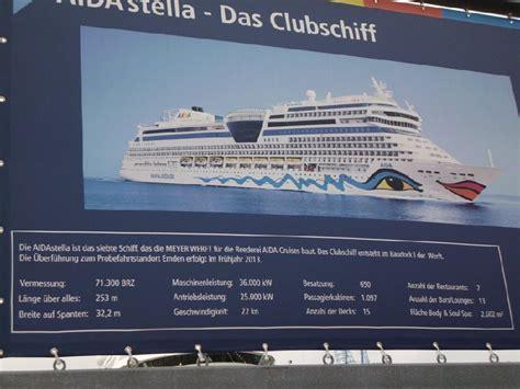 technische daten der aida prima reisebericht zur schiffs 252 berf 252 hrung ins emsland