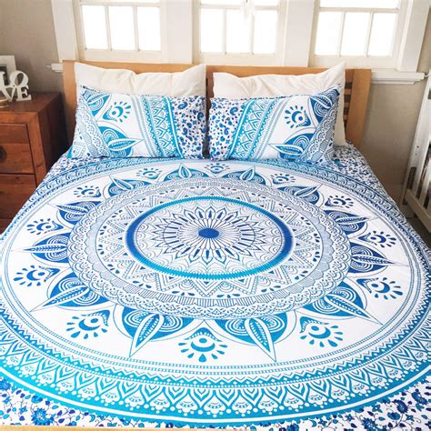 mandala bedding white blue king ombre medallion mandala duvet cover with