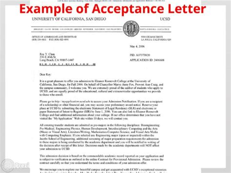 Acceptance Letter For Transfer College Admission Letter