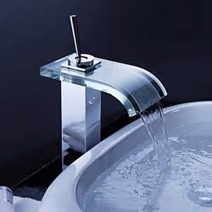 contemporary waterfall bathroom sink faucet with glass
