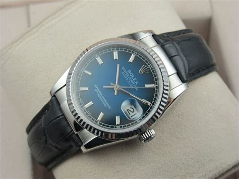 Rolex Silver Automatiic With Date Leather rolex datejust 36mm swiss automatic blue stick markers black leather bracelet rlx0077