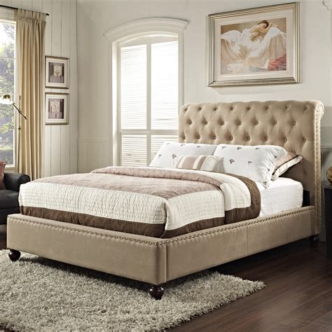 bedroom with tufted headboard upholstered king bed with rolled and tufted headboard by standard furniture wolf and
