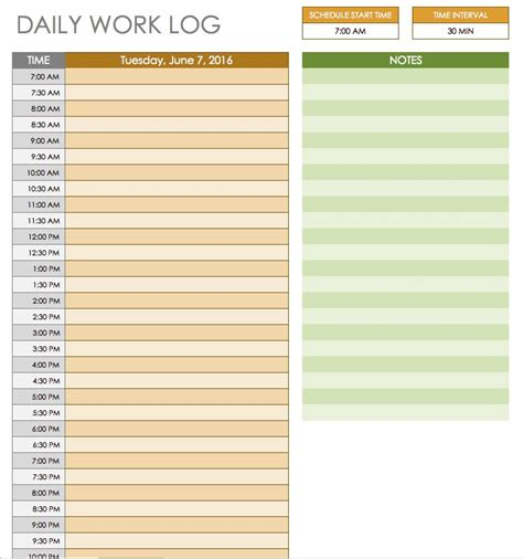 Free Daily Schedule Templates For Excel Smartsheet Daily Work Log Template Word