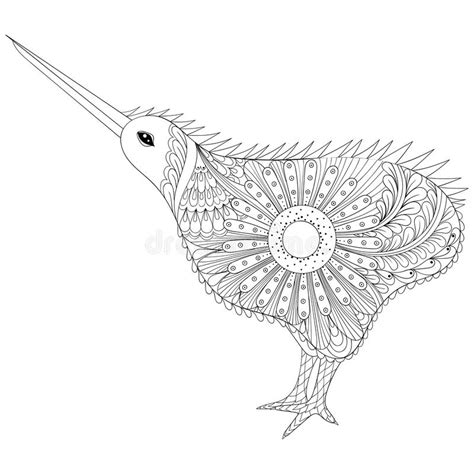 anti stress colouring book nz zentangle tribal kiwi bird symbol of new
