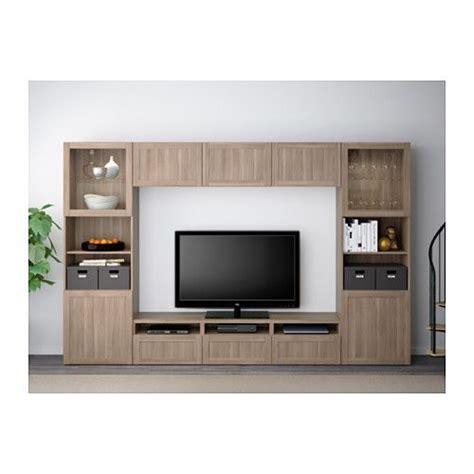 ikea besta grey best 197 tv storage combination glass doors walnut effect