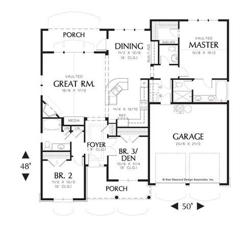 mascord floor plans floor plan of mascord plan 1146 the godfrey craftsman plan with porch house plans to