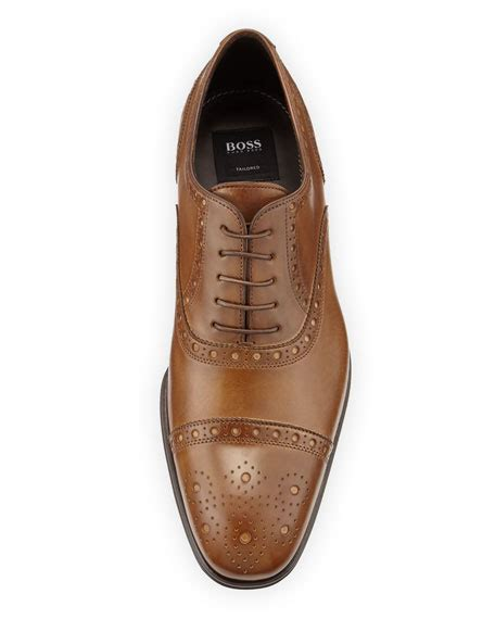 hugo oxford shoes hugo capetis leather brogue oxford shoe open beige
