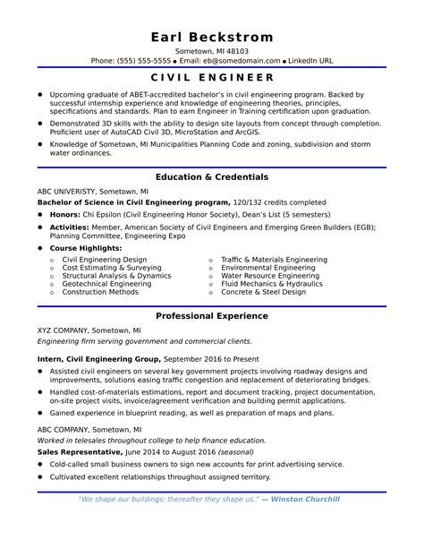 Civil Engineer Resume Entry Level by Sle Resume For An Entry Level Civil Engineer