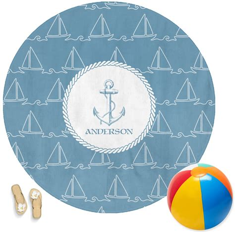 boat beach towels rope sail boats round beach towel personalized