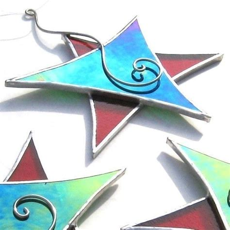 christmas dancing star stained glass ornament red