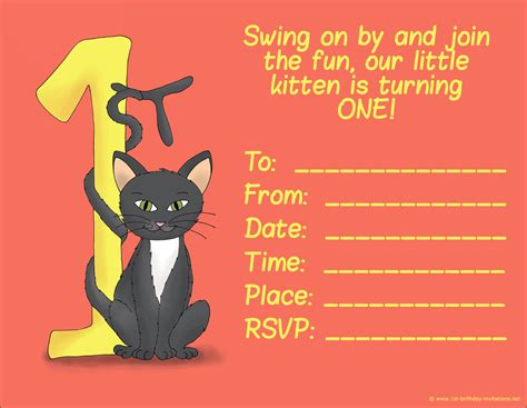 printable birthday cards cats free 20 cute 1st birthday invitations free printable and