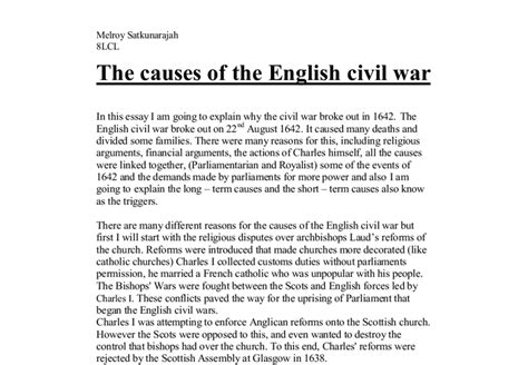 Civil War Essays by The Causes Of The Civil War A Level History Marked By Teachers