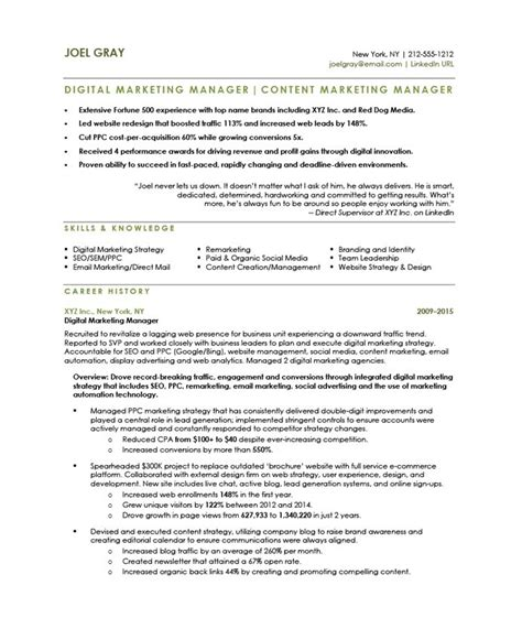 digital marketing manager free resume sles blue sky resumes