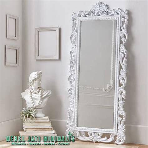 Jual Cermin Hias Besar cermin dinding besar ukiran mewah putih mebel jati minimalis