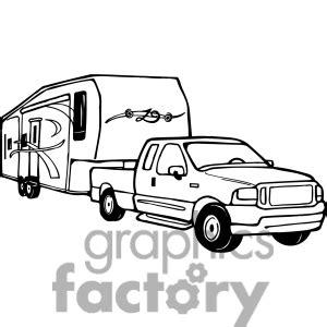 Trailer Clipart 1413114 Truck And RV Camper Trailerjpg sketch template