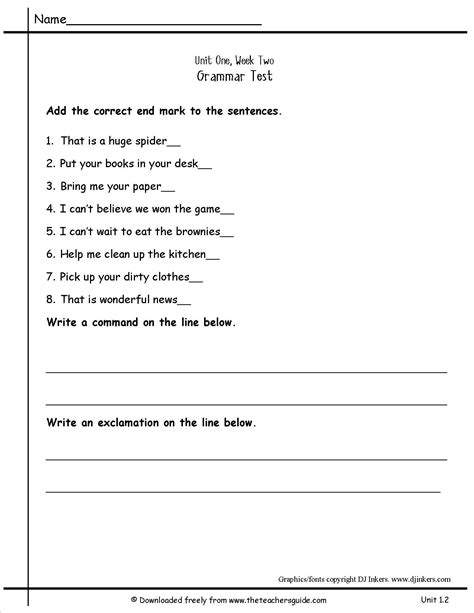 exle of command sentences worksheet commands and exclamations worksheets worksheets