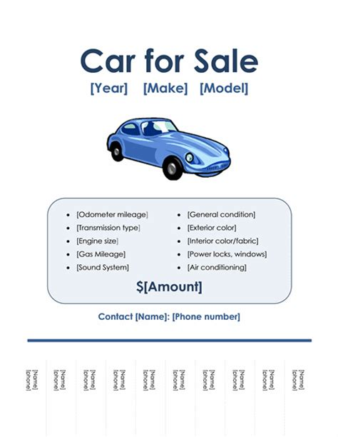 templates for sale car for sale flyer office templates