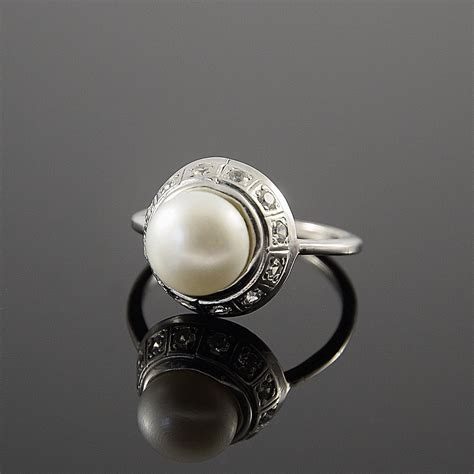 pearl ring white pearl ring art deco ring victorian ring