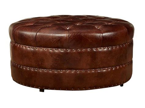 Lockwood Quot Quick Ship Quot Round Tufted Leather Ottoman Leather Ottoman