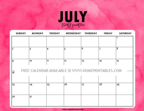 printable calendar 2017 pink free printable july 2017 calendar 8 colorful styles