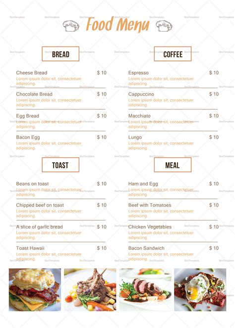 indesign menu templates simple breakfast menu design template in psd word