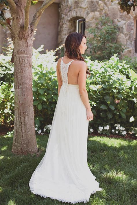 Backyard Wedding Dresses For Brides Boho Chic Wedding Dress With Amazing Back Detail By Http