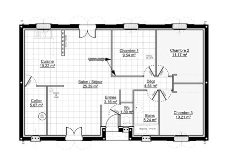Plan Maison 3 Chambres by Plan Maison 100m2 3 Chambres