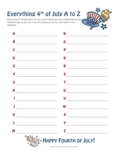 printable 4th of july games quot everything 4th of july a z quot game printable 4th of july