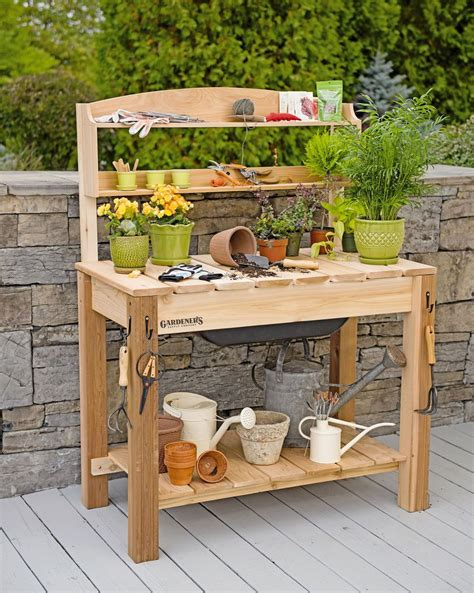 potting table with sink potting bench cedar potting table with soil sink and