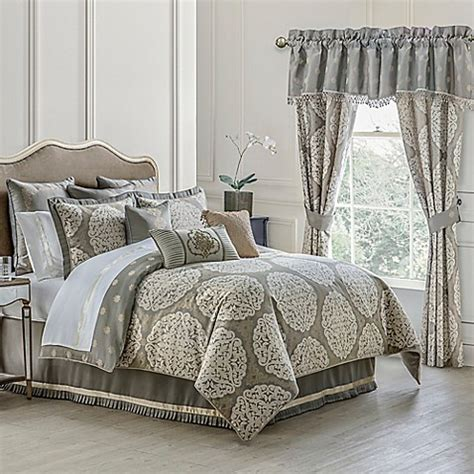 waterford 174 linens darcy reversible comforter set in pewter