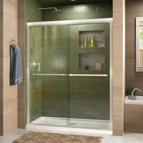 Shower Room Doors Shop Dreamline Duet 44 In To 48 In W Frameless Brushed Nickel Sliding Shower Door At Lowes