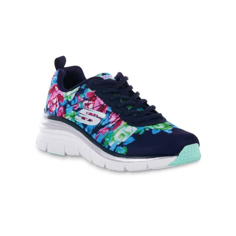 sears womens athletic shoes skechers s fashion fit blue floral athletic shoe