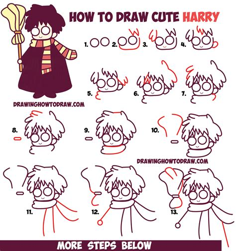 how to how to draw cute harry potter chibi kawaii easy step