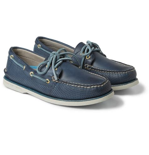 blue sperry boat shoes sperry top sider gold cup perforated leather boat shoes in