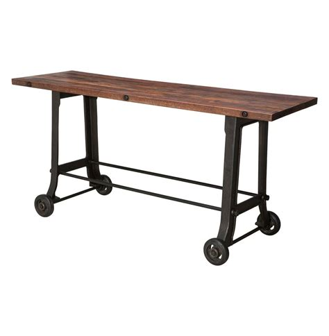 cast iron sofa table brooklyn industrial reclaimed wood cast iron console bar table