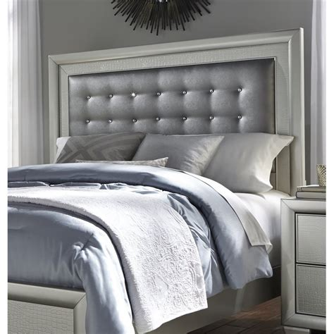 Silver Padded Headboard by Samuel Celestial Upholstered Panel