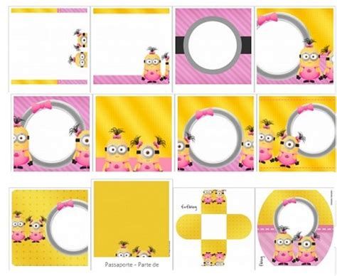 kit imprimible de minions girls con invitaciones tarjetas