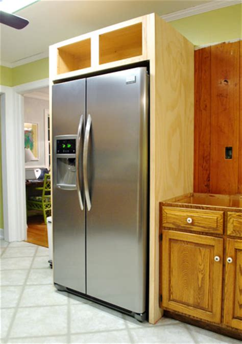 how to cover refrigerator with cabinet how to build in your fridge with a cabinet on top young
