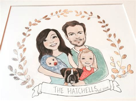 picture illustration custom family portrait illustration with silver leaf crest