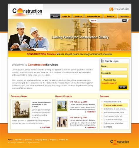 construction site templates construction webpage template 5699 construction