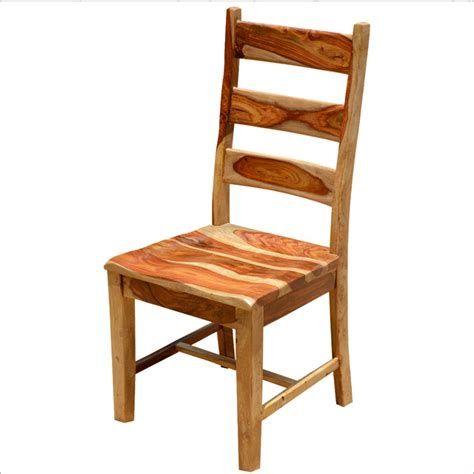 dallas rustic solid wood ladder back side dining chair