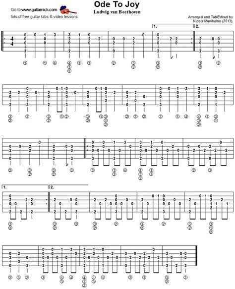 fingerstyle tutorial hello ode to joy fingerstyle guitar tablature charts